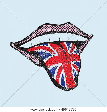 Great Britain flag tongue. English language concept. English tongue.