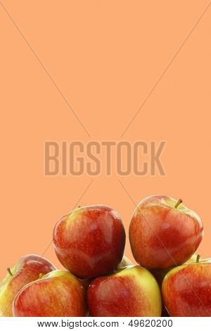 fresh Dutch  braeburn apples on a orange background