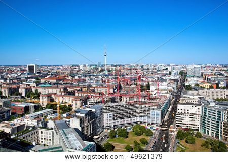 Berlin panorama. Top view on Television Tower, Berlin Catherdral - German Berliner Dom