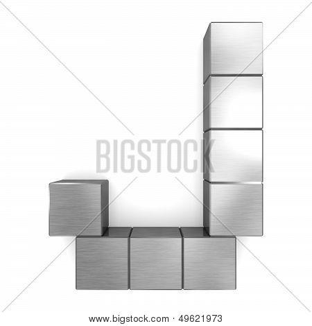 Letter J Cubic Metal