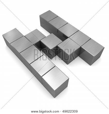 Letter N Cubic Metal