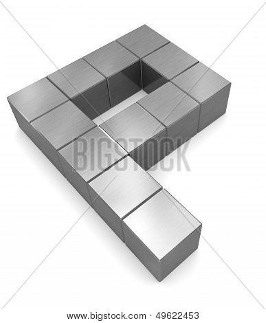 Letter P Cubic Metal