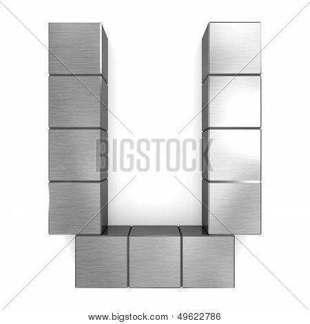 Letter U Cubic Metal