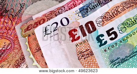 English British banknotes money diagonal view of all 4 paper money