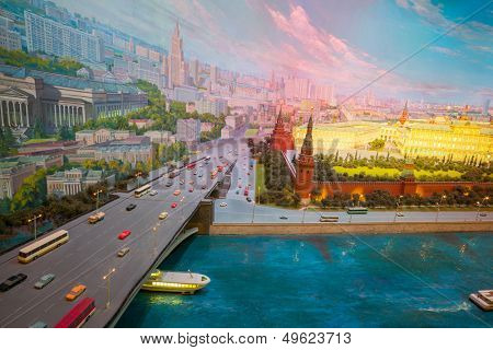 MOSCOW - JUL 18: Diorama in the hotel Ukraine with the bridge on Moscow river and Kremlin on July 18, 2013 in Moscow, Russia.