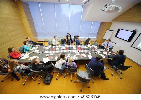 MOSCOW - DEC 20: People in the conference room on Business Breakfast at the office Rosbank on December 20, 2012 in Moscow Russia.