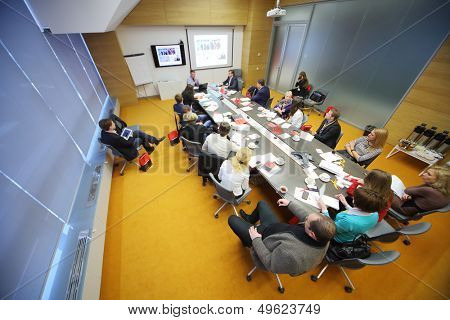 MOSCOW - DEC 20: People talk on Business Breakfast at the office Rosbank on December 20, 2012 in Moscow Russia.