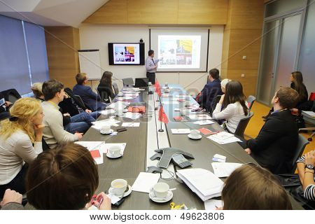 MOSCOW - DEC 20: Speaker and listeners on Business Breakfast at the office Rosbank on December 20, 2012 in Moscow Russia.