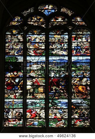 PARIS, FRANCE - NOV 07, 2012: Stained glass, church is dedicated Gervasius and Protasius is one of the oldest in Paris. Known for its richly painted stained glass, Paris, France on Nov 07, 2012