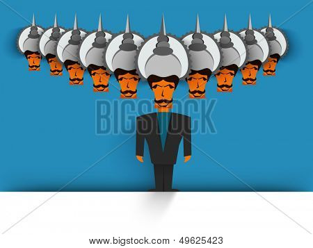 Indian festival Dessehra concept with Ravana with his ten heads on blue background.