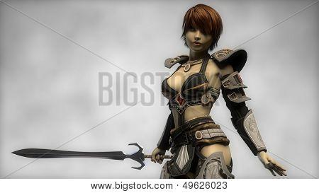 warrior girl in war suite