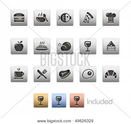 Food Icons - Set 1 // Metallic Series - It includes 4 color versions for each icon in different layers.