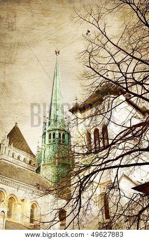 old Geneva - picture in retro style