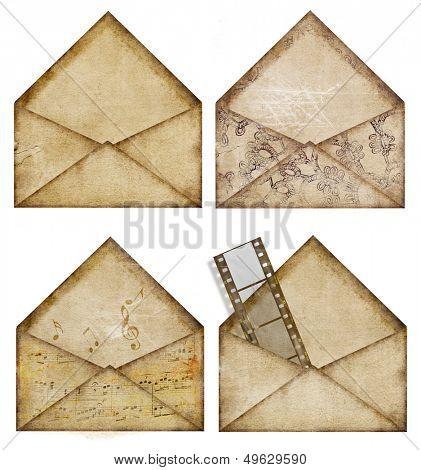 set of vintage paper envelopes