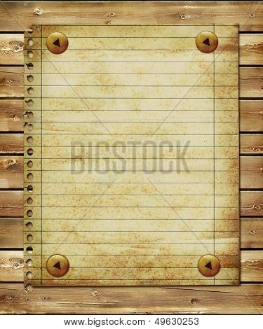 vintage blank page over wooden planks