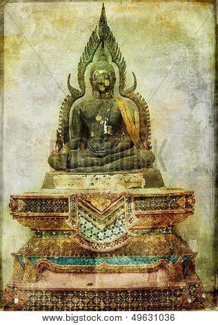 ancient budda statue - vintage card