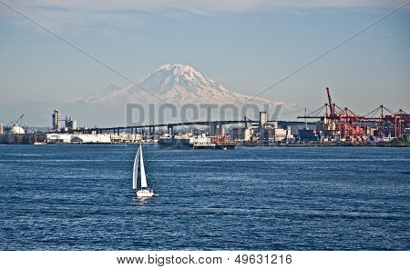 Sailboat Foreground Mt Rainier Washington Landscape