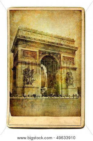 vintage cards - European landmarks -Arch de triumph