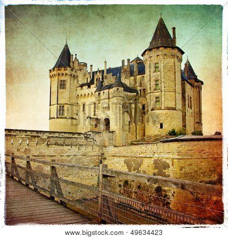 Saumur castle - artistic retro picture