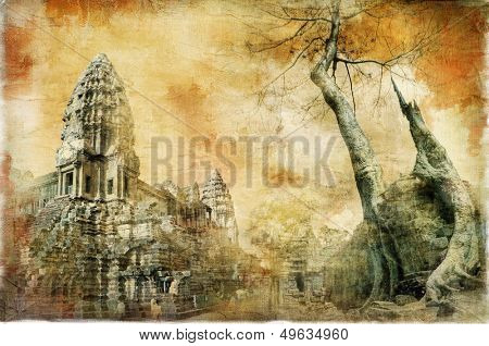 hidden temples of ancient civilisation - artwork in painting style (from my cambodian series)