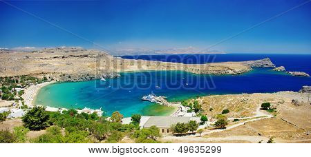 View at Lindou Bay from Lindos  Rhodes island, Greece