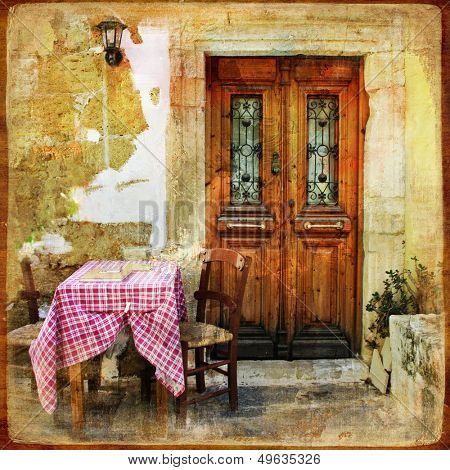 pictorial old greek streets with tavernas - retro styled picture