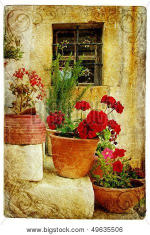 pictorial Cretan villages (Lutra)- artwork in retro style
