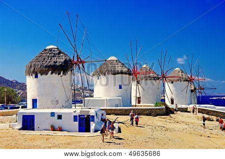 windmills of sunny Mykonos (Greece, Cyclades)