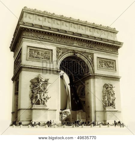 arc de triumph - sepia toned picture