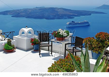 view of volcano - beautiful Thira town (Santorini)