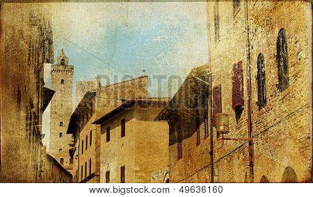 San Gimignano (Tuscany) - retro styled picture