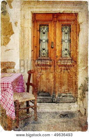 traditional Greece series - old streets with small tavernas