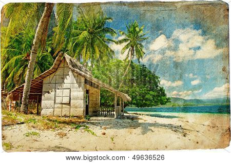 tropical bungalow-retro styled picture