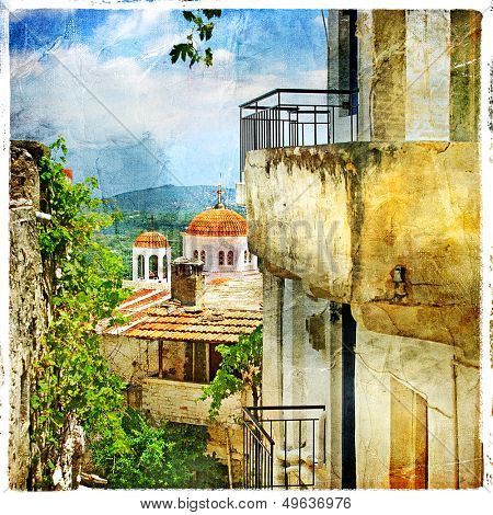 Greek streets and monasteries-artwork in painting style