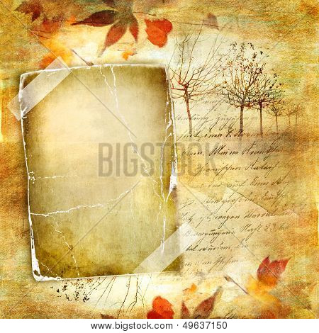 autumn background - vintage paper with frame