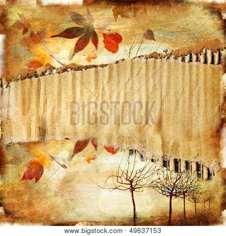 autumn background  -vintage paper with place for text