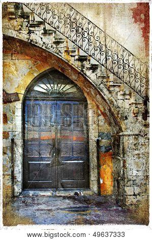 pictorial old greek streets series - artistic picture