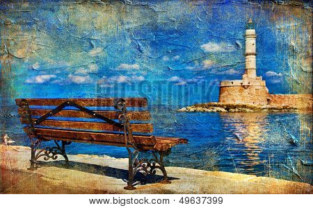 light house and bench (Chania Crete) - artistic picture