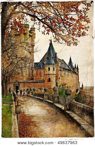 Alcazar castle - medieval Spain painted style series