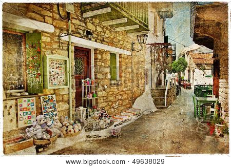 traditional Greece - streets,shops,tavernas - vintage picture