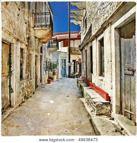 charming old streets , Naxos island, Greece