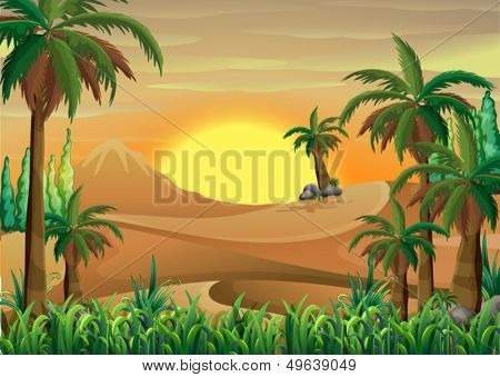 Illustration of a forest at the desert