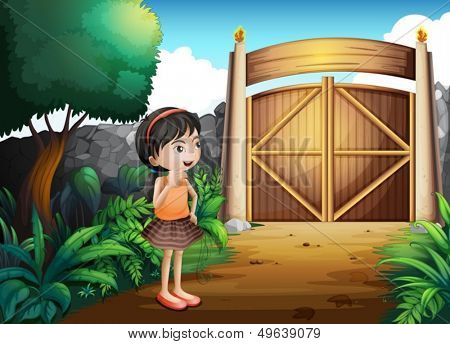 Illustration of a gated yard with a young girl