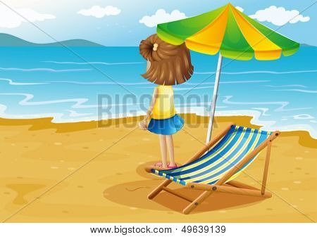 Illustration of a girl at the beach with a foldable chair and an umbrella