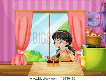 Illustration of a young girl unwrapping a present inside the house