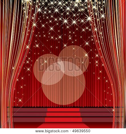 vector empty red stage with falling stars