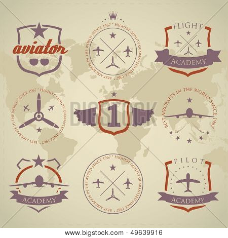 Set of vintage aviation labels - sandy