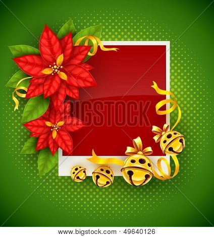 Christmas greeting card with traditional red poinsettia flowers and gold jingle bells on green background - eps10 vector illustration
