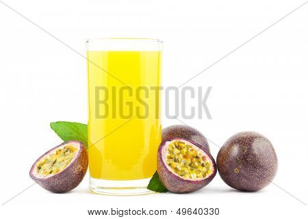 Fresh passion fruit juice with passion fruits on white