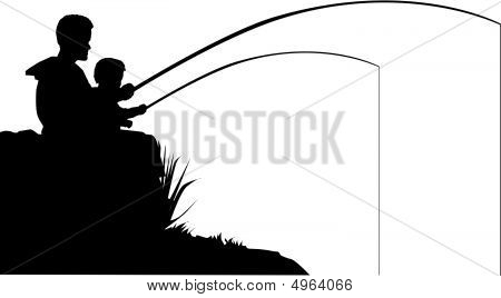 Father And Son Fish Silhouette